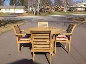 Teak Patio Table and Chairs For sale