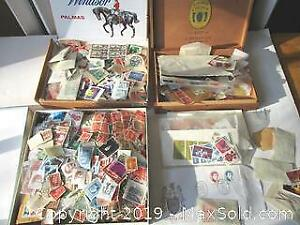 Three Boxes Of Collected Stamps WW1, WW2, King George To Queen Elizabeth. Mostly Canada, Sweden, Norway, Netherlands & B