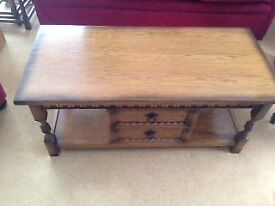 Coffee Table with drawers manufactured by Olde Court Furniture in Cromwell Light Oak