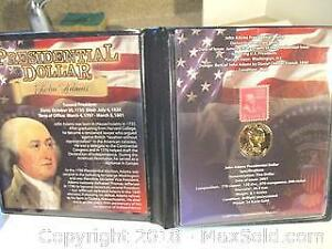 John Adams 2nd President, Presidential 24 Karat Gold Plated Coin & Stamp Set.