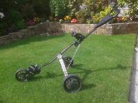 3 wheeled push along folding golf trolley