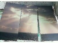 Three Piece Canvas of Sea and Sky - 110cm high x 50cm wide
