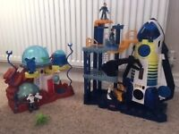 Fisher Price Imsginext Space Shuttle/Tower +Moon Base Bundle