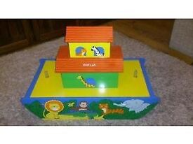 Lovely large wooden Noah's Ark with animals and two figures, ideal Christmas gift?