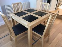 Great quality table and 4 chairs - Oak veneer with granite inlay