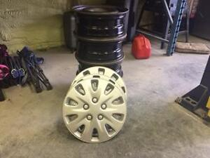 (4) - Four Steel Rims 5x114.3 16 inch & Hubcaps
