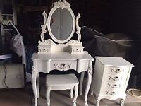 Wardrobe, dressing table and chair and set of drawers