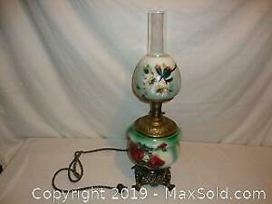 Antique hand painted oil lamp converted to electric