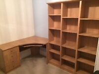 Corner piece desk, drawers and 3 shelving units