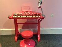 Children's keyboard/microphone/stool