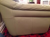 2 seater leather sofa in olive green