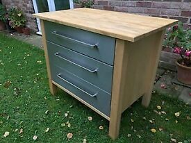 SOLID PINE, LARGE, STAND ALONE, 3 DRAWER KITCHEN UNIT