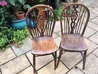 Two Very Attractive Vintage Wheelback Chairs