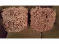A pair of fluffy cushions