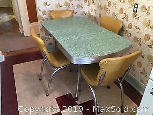 Retro Formica 50's Green Table and 4 Chairs
