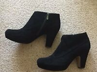 Clarks Black Suede Ankle Boots Size 8