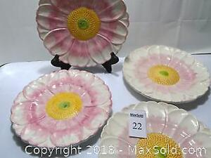 Two-Tone Portuguese Pink Sunflower Serving Plates