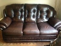 3 seater genuine leather sofas x2