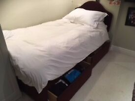 Single bed with storage drawers, headboad and comfy mattress