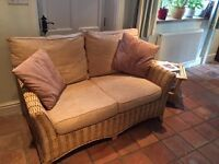 Two seater cane sofa & chair with coffee table , ideal for Conservatory
