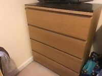 Ikea 4 drawer chest Oak veneer glass top
