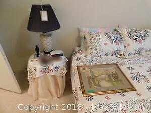 Side Table, Lamp And Print - B