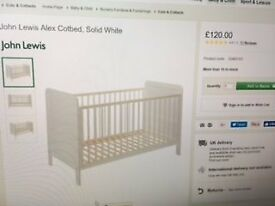 John Lewis Alex Cotbed, white, and pocket sprung mattress