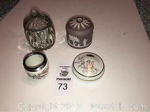 Crystal dish with lid, Wedgwood Brewster Sugar Bowl& lid Lilac Jasperware 3 1/4 tall Limoges dish with lid plus A
