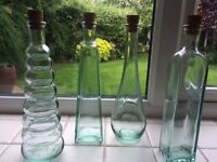 Decorative glass bottles - set of four
