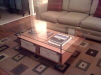 Gorgeous glass and wood coffee table from IKEA like new