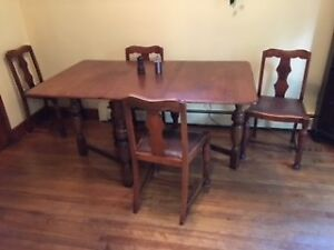 Antique English Oak Gate-Leg Table and 4 Chairs for sale
