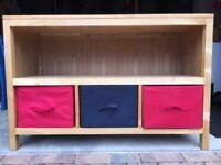 Solid Oak Feather & Black Bookcase/Storage Unit