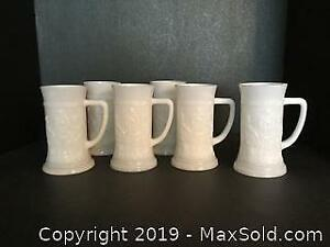 Milk Glass Beer Stein Lot (A)
