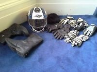 Mens / gents motorbike helmet, gloves, jacket, boots and trousers