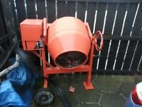 Free standing electric cement mixer