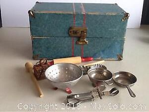 Vintage Doll Trunk With Doll Cooking Utensils