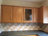 Cherry Veneer Fitted Kitchen - including all units, worktop sink, cooker, hob and extractor