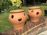 Yorkshire Flowerpots terracotta strawberry planter x 2 - £15 for pair