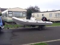Valiant V520 Rib Boat with Mercury 90 2 stroke engine also with R1600 wing back easy launch trailer.