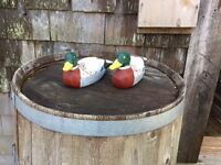 SET OF 2 HAND PAINTED DUCKS