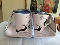 Coffee cups with matching tray