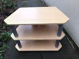 Beech wood effect corner TV stand