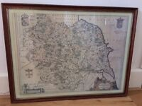 FRAMED PRINT OF AN OLD MAP OF YORKSHIRE