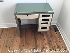 CB2 Metal Desk With Glass Top C