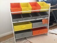 children's storage unit with colourful boxes - hardly used