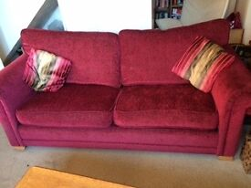 DFS large red sofa and sofa bed
