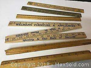 Collection of old wooden desk Rulers