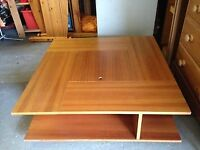Coffee table - Square, low, double shelved, with centre lidded compartment