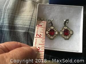 Large Red Swarovski Crystal Earrings A