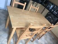 Solid Pine Dining Table (53 inches x 29.5 inches) & 3 Chairs